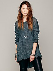 Hooded Flounce Pullover