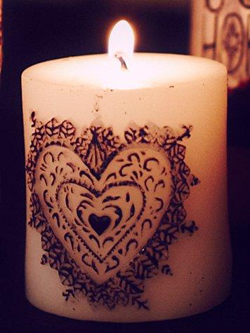 Henna Heart Pillar Candle
