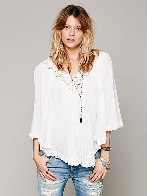 V Neck Gauze Top