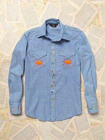 Vintage Denim Long Sleeve Top