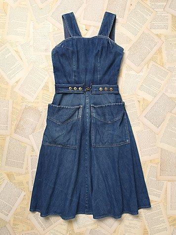 Vintage Denim Wrap Dress