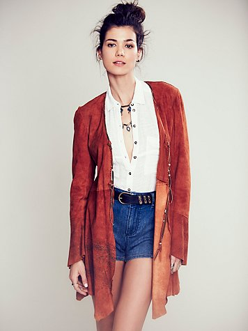 Chilli Painted Suede Jacket