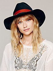 Leather Band Brimmed Hat