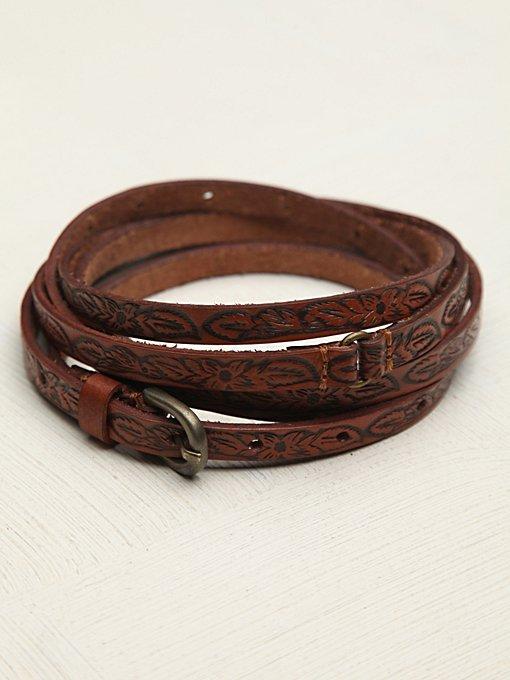 Tooled Leather Double Wrap Belt