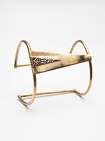 Mixed Plating Etched Triangle Cuff