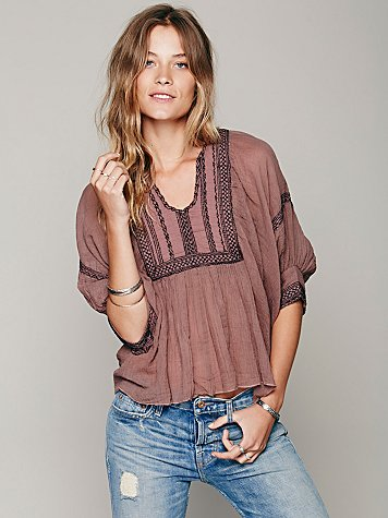 FP ONE Embriodered Bib Peasant Top