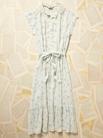 Vintage 1970s Blue Floral House Dress