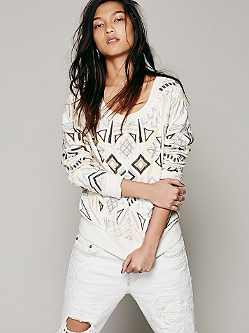 Geo Embroidered Pullover