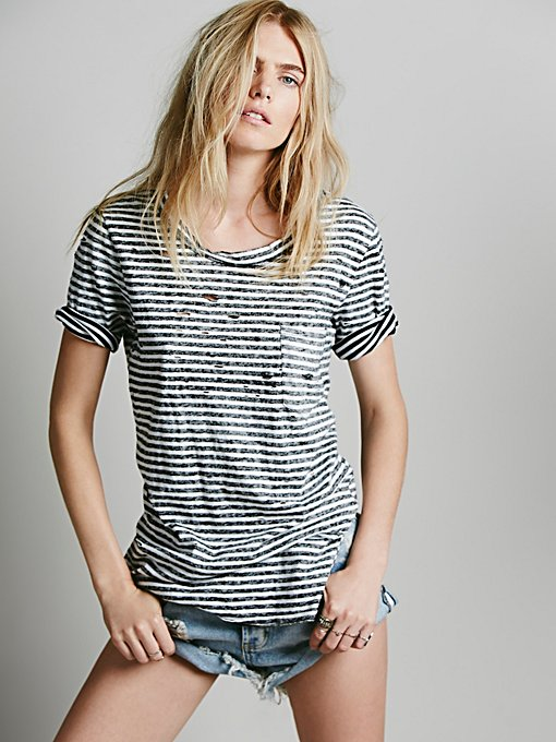 Destroyed Striped Tommy Tee