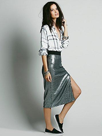 Disco Sequin Pencil Skirt
