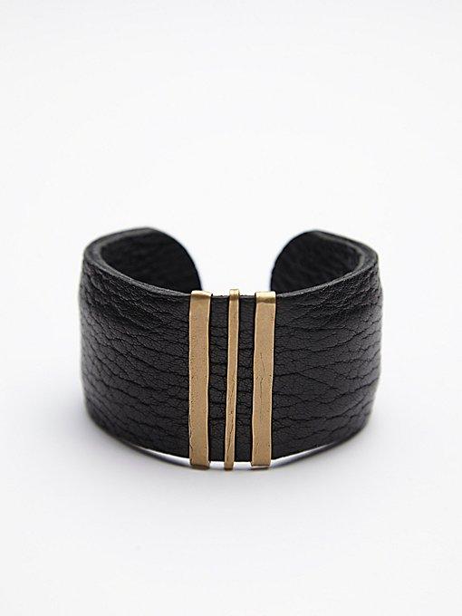 Triple Bar Leather Cuff