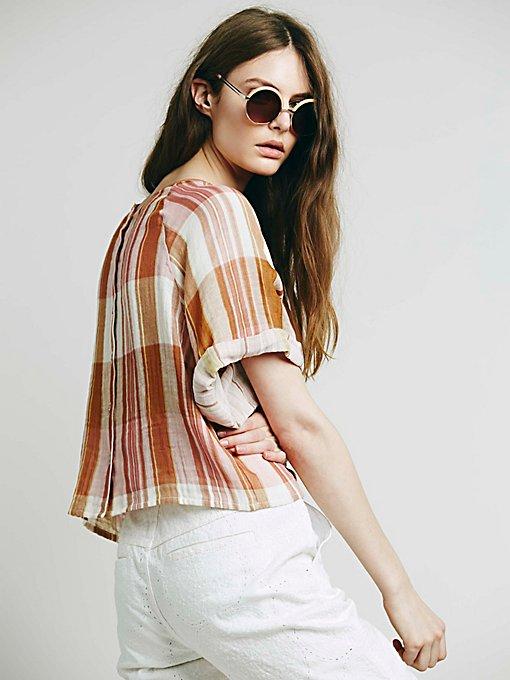 Short Sleeve Plaid Double Cloth