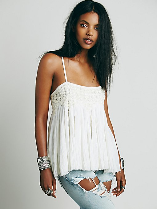 FP One Embroidered Crochet Swing Tank