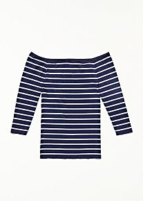 Off The Shoulder Striped Seamless Top