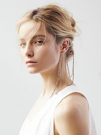 Draped Ear Cuff to Hair Chain