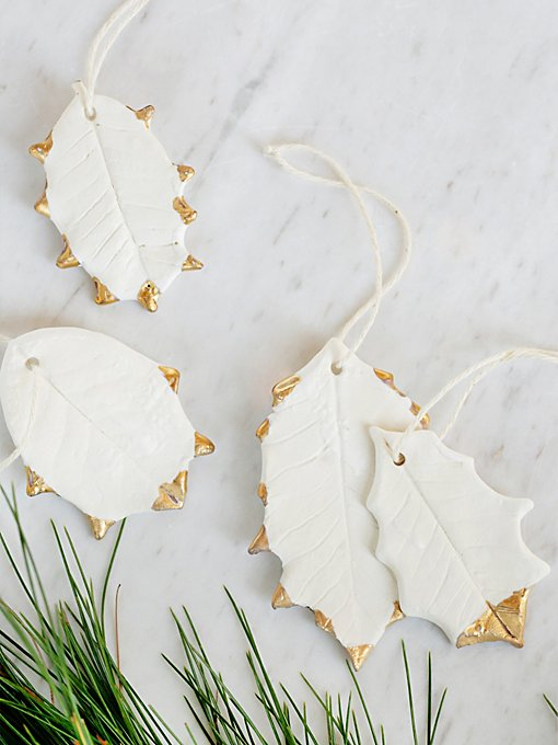 Ceramic Holly Leaf Ornament