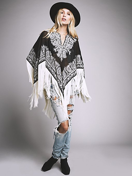Odyssey Embroidered Fringe Cape