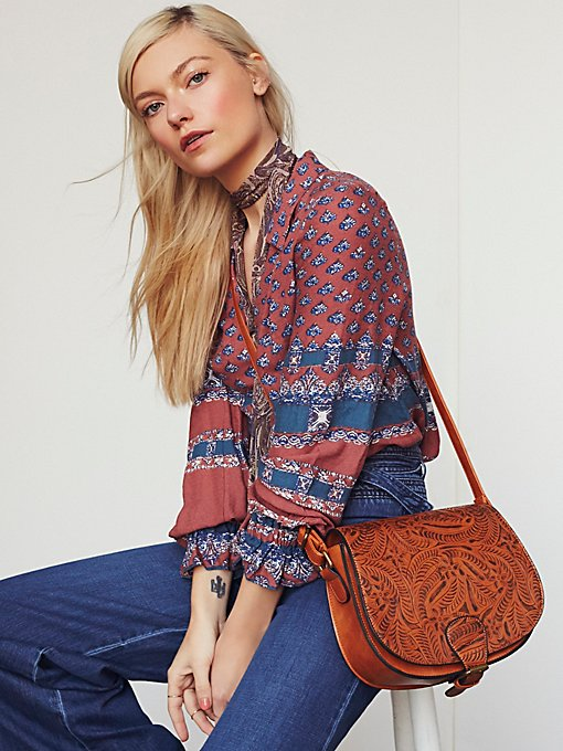 Vegan Tooled Saddle Bag