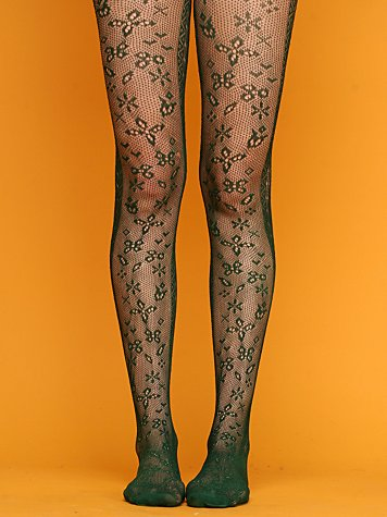 Creeping Flowers Crochet Tights