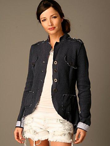 Knit Mandarin Collar Blazer